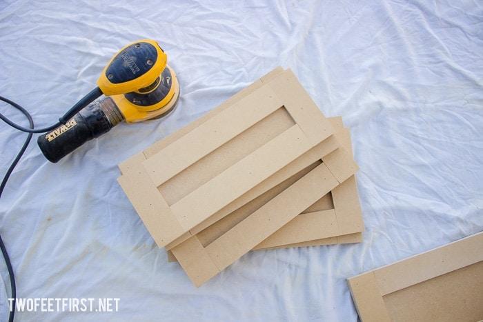 sanding cabinet door fronts