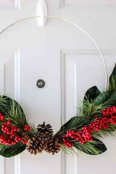 simple holiday wreath for front door