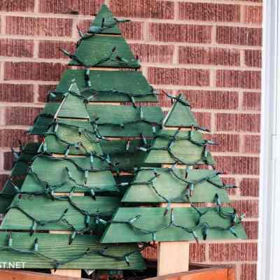 homemade wooden Christmas tree