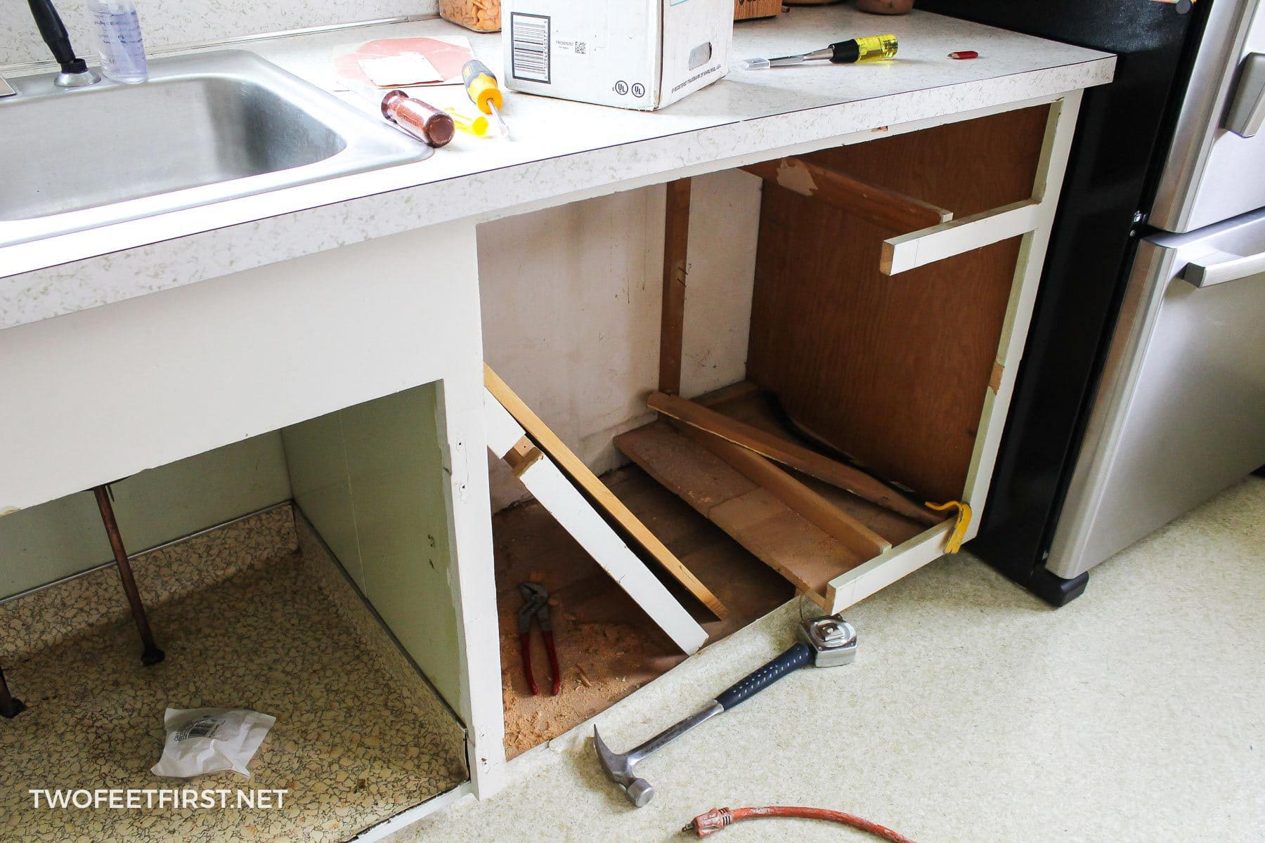 creating a dishwasher cabinet