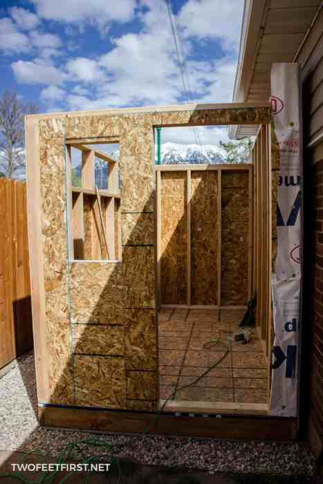 add sheathing to shed wall