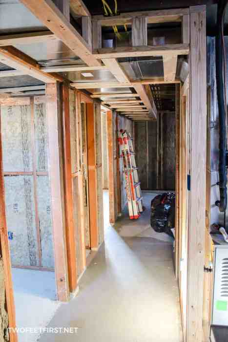 framing around a trunk line in basement