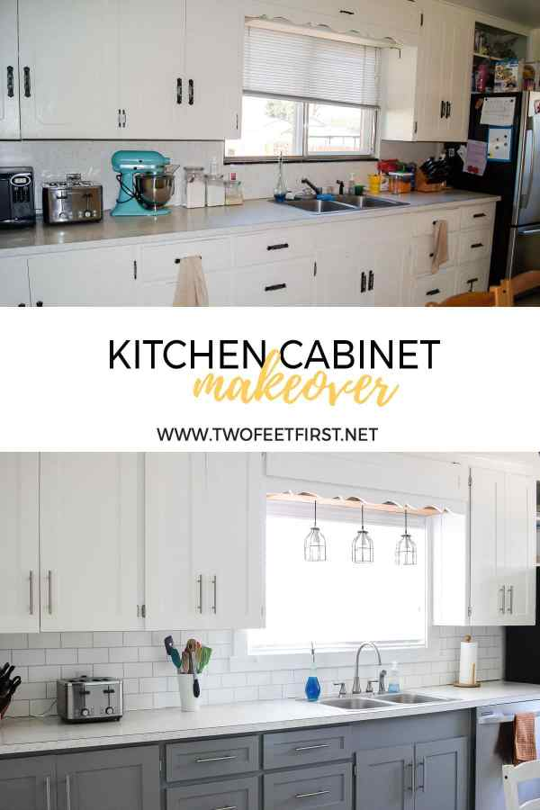 kitchen cabinet makeover white and grey cabinets