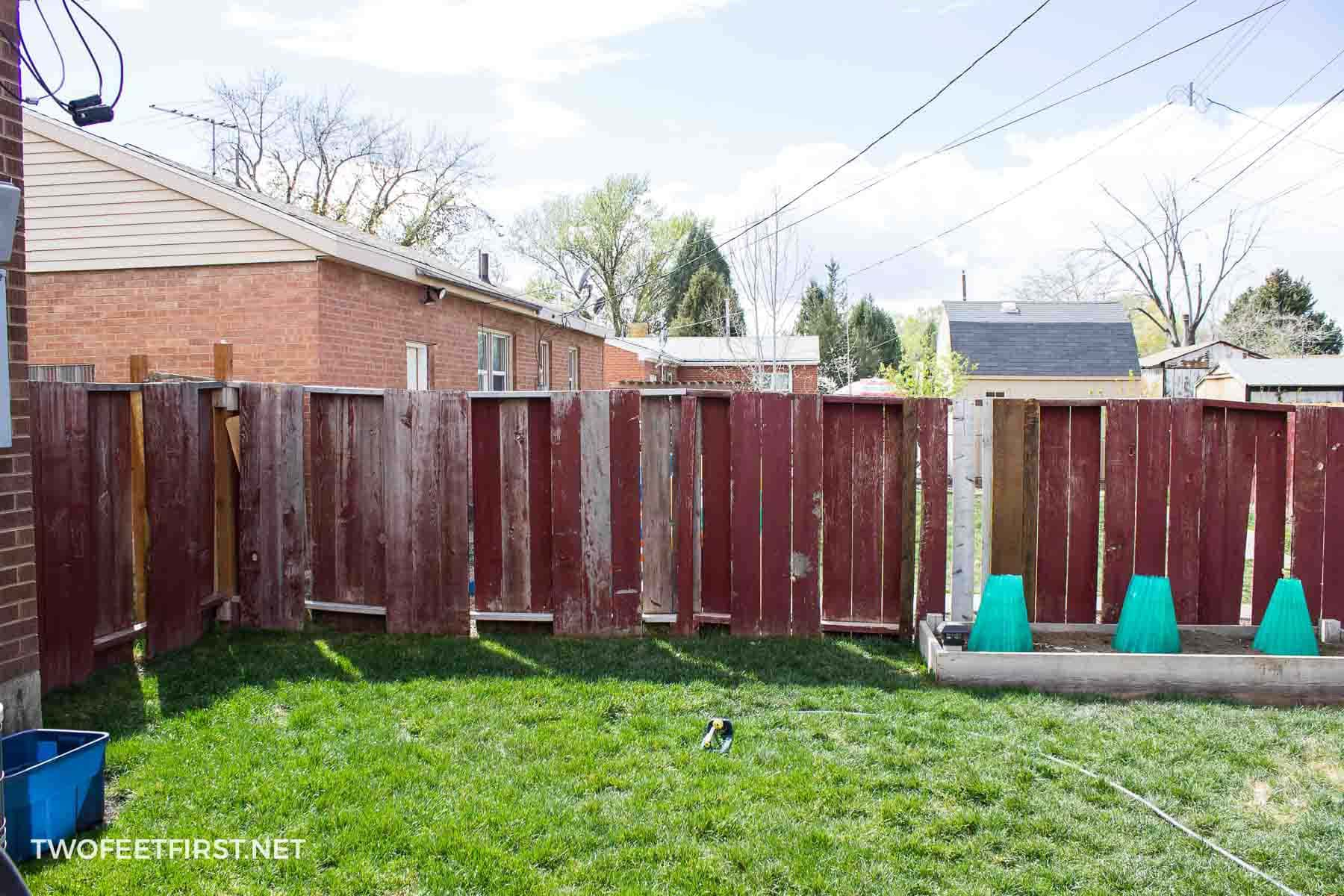 fixing old wooden fence