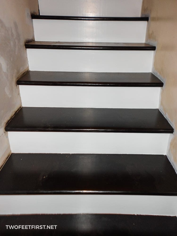 How To Remodel Stairs From Carpet To Wood The Full Process   Staining Stair Treads And Painted Risers   Open Stair Basement   4 Thick   Walnut   Design   Commercial Business