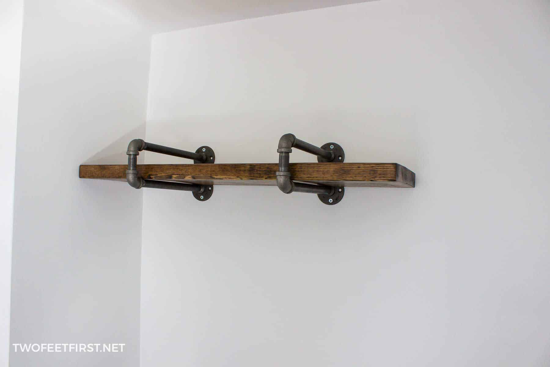 place wood on pipe shelf