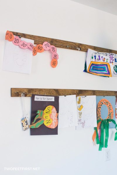 kid's artwork display