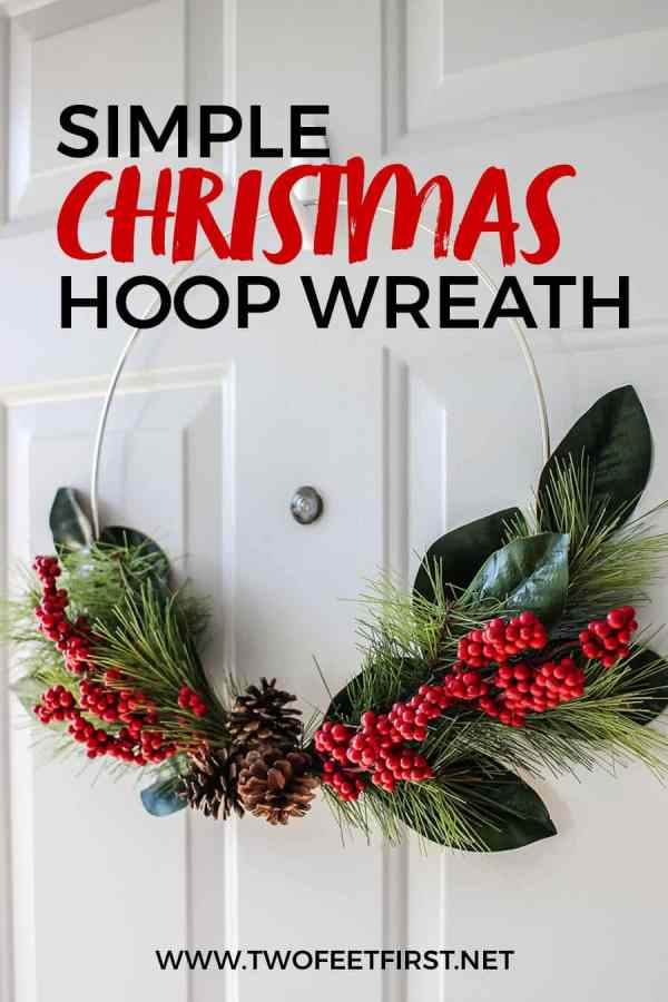 DIY holiday hoop wreath