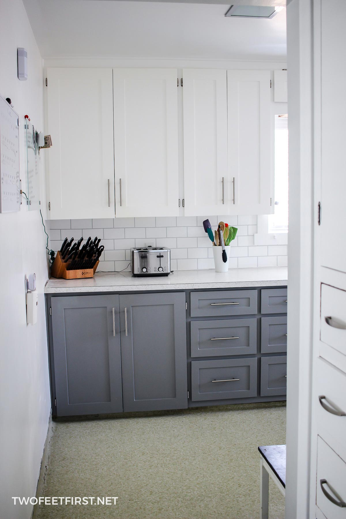 updated white and grey kitchen cabinets