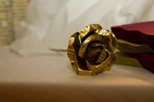 large metal rose