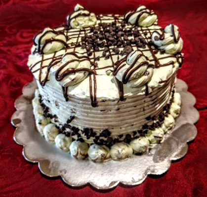 Mint chocolate cake with chocolate drizzle
