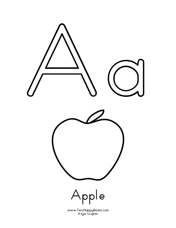 coloring page and printable worksheet with picture of the letter a