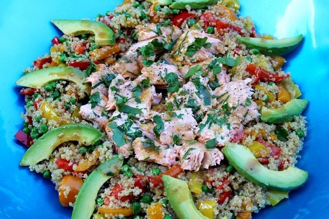 Rainbow Quinoa Stir Fry with Rainbow Trout
