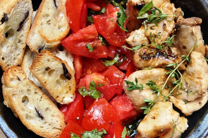 Tomato salad and chicken bowl
