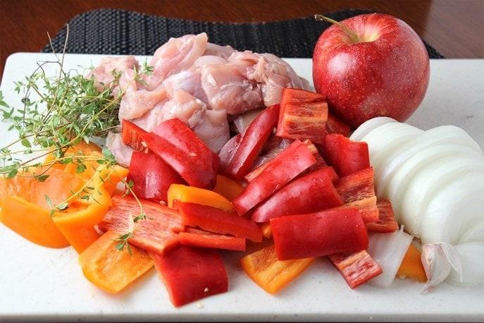 Cider Chicken and Apple Stir Fry ingredients