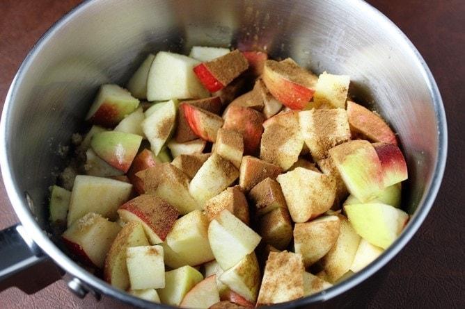 Apples, sugar and cinnamon