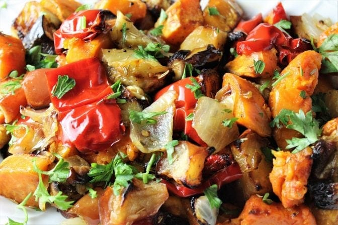 Roasted Sweet Potatoes, Peppers, Eggplant and Apples
