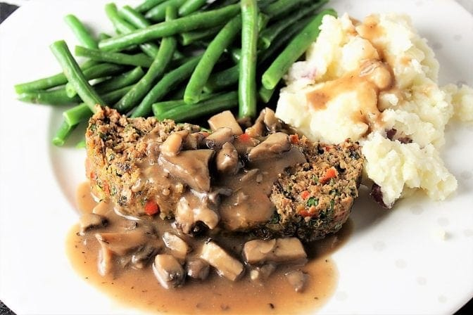 Great meatloaf with mushroom gravy