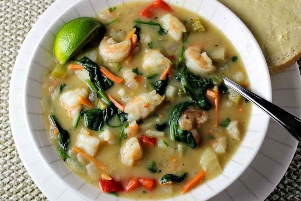 East Meets West Chowder. A typical hearty seafood chowder with Asian coconut curry notes