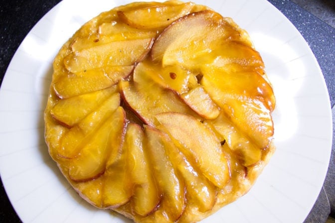 Simple Apple Tart with puff pastry, apples, brown sugar and butter