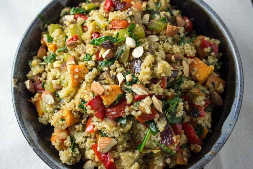 Vegetable Quinoa Stuffing loaded with sweet potatoes, onions, peppers and spinach