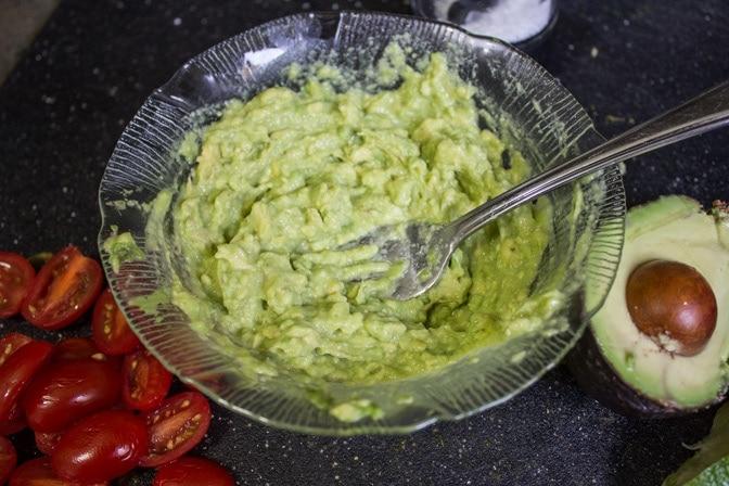 avocado with lime and salt
