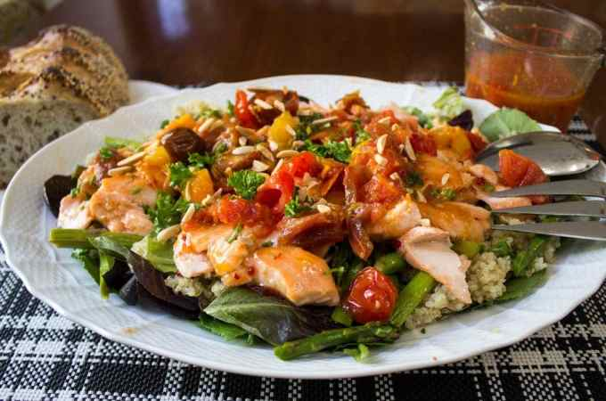Warm Salmon Salad with Spicy Tomato Citrus Sauce