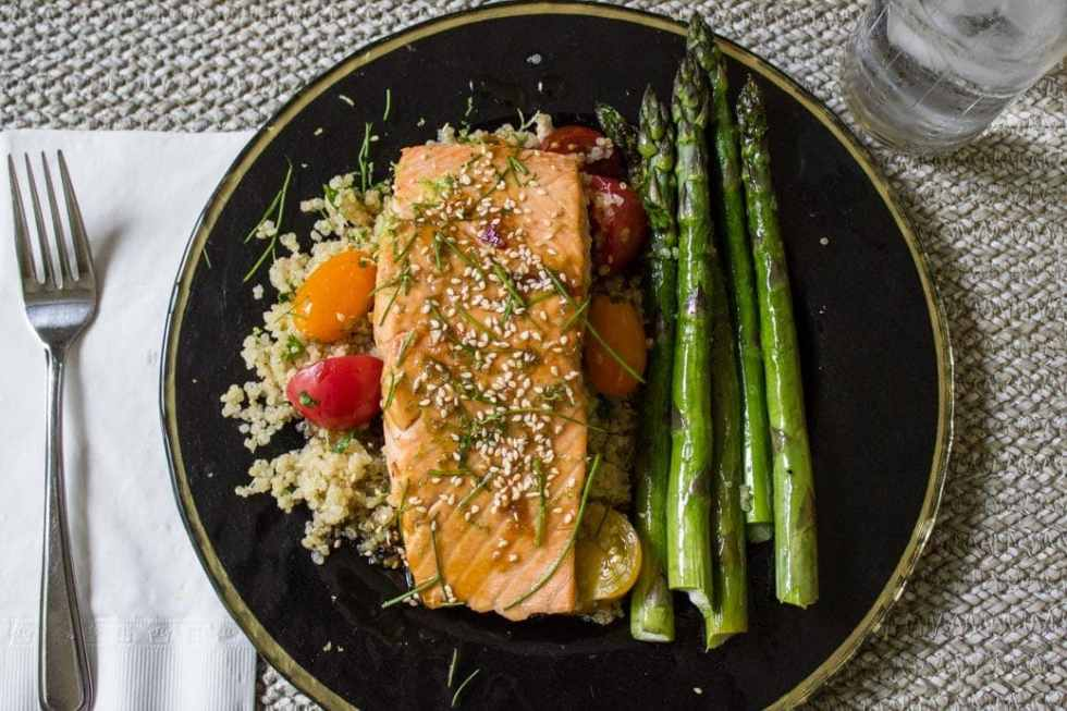 Easy Maple Lime Salmon. Just 6 ingredients to sweet tart tender salmon.