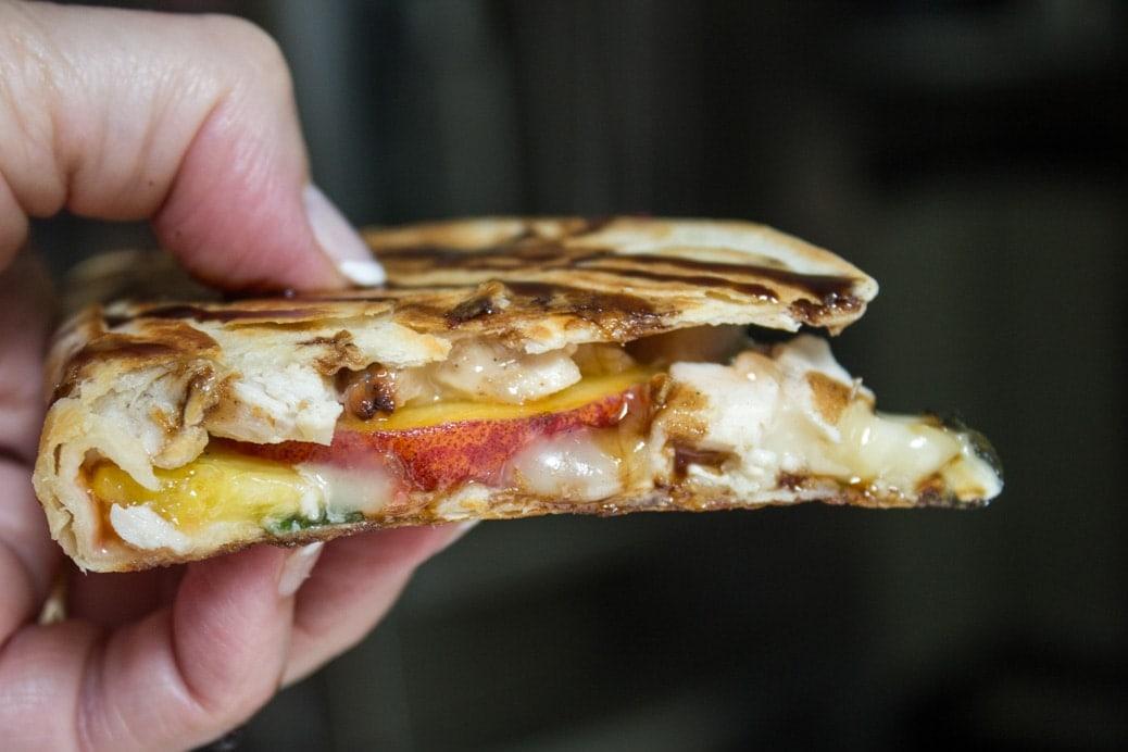Peach, Chicken, Brie Quesadilla