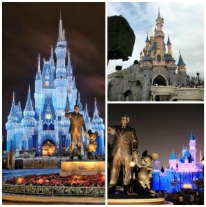 Image source Flickr. From left to right clockwise: Walt Disney World, Disneyland Paris, Disneyland