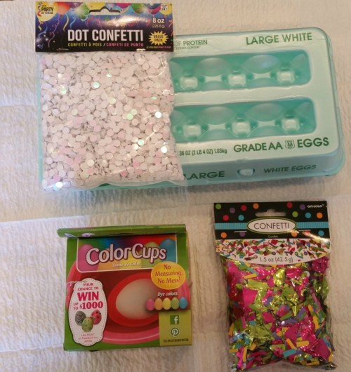 Supplies needed to make confetti eggs