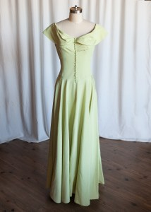 Lady of the Lake dress | vintage 1930s evening gown | green moire taffeta dress | 30s / 40s party / prom / formal dress