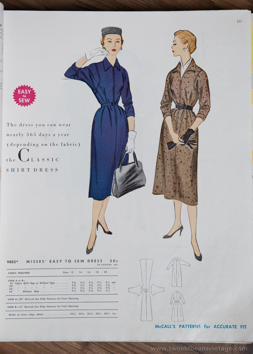 9883 Mccalls 1954 Winter Vintage Pattern | 1950s Two Old Beans Vintage Clothing