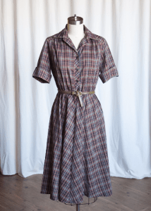 Sligo Maid dress | vintage 70s dress | black / green plaid cotton dress | vintage 70s does 50s dress | vintage summer shirt dress