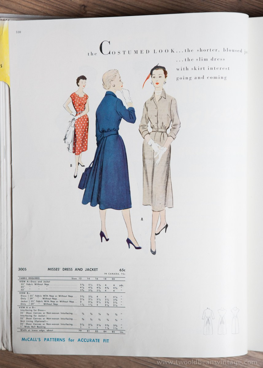 3005 Mccalls 1954 Winter Vintage Pattern | 1950s Two Old Beans Vintage Clothing