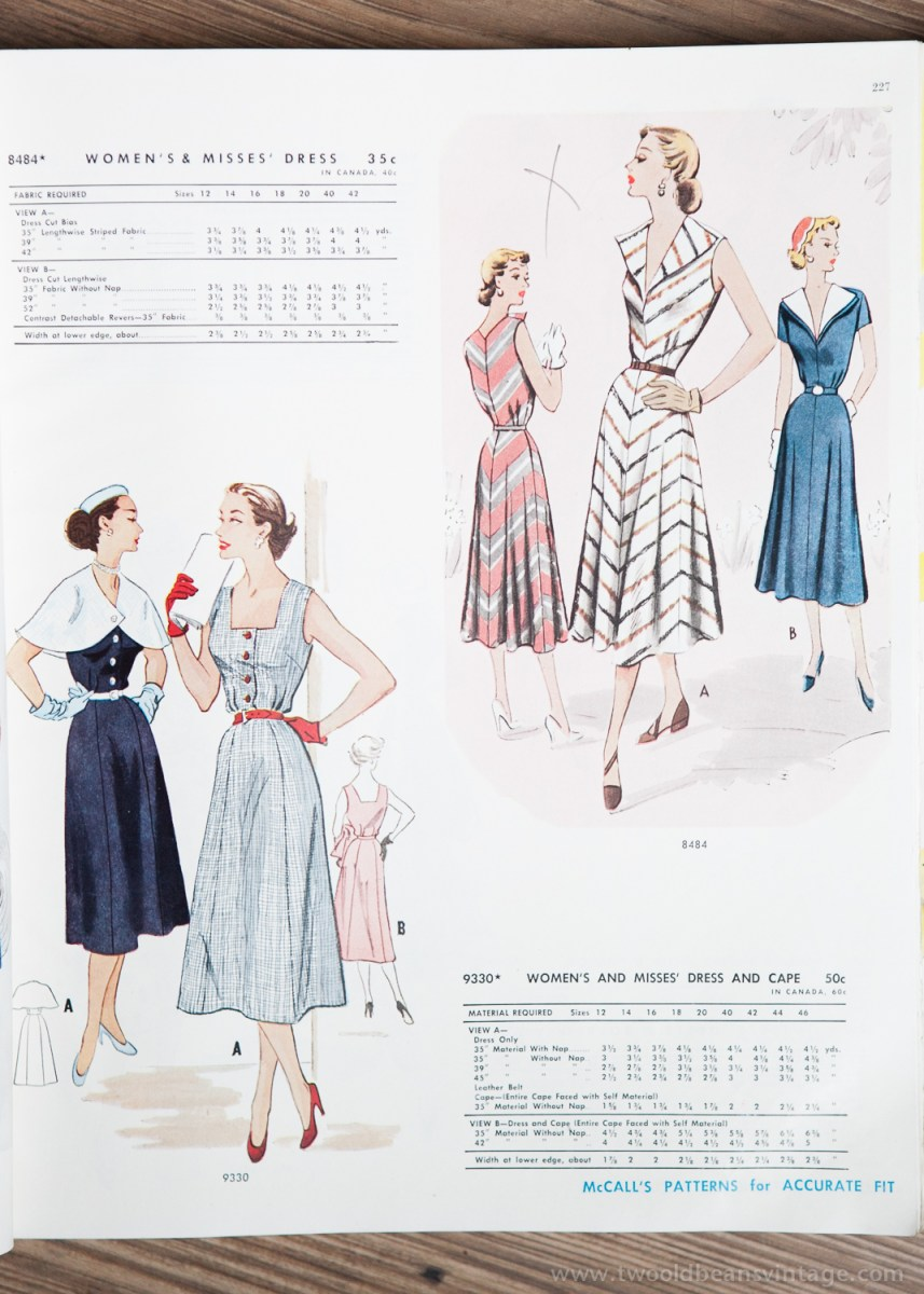 8464 + 9330 Mccalls 1954 Winter Vintage Pattern | 1950s Two Old Beans Vintage Clothing