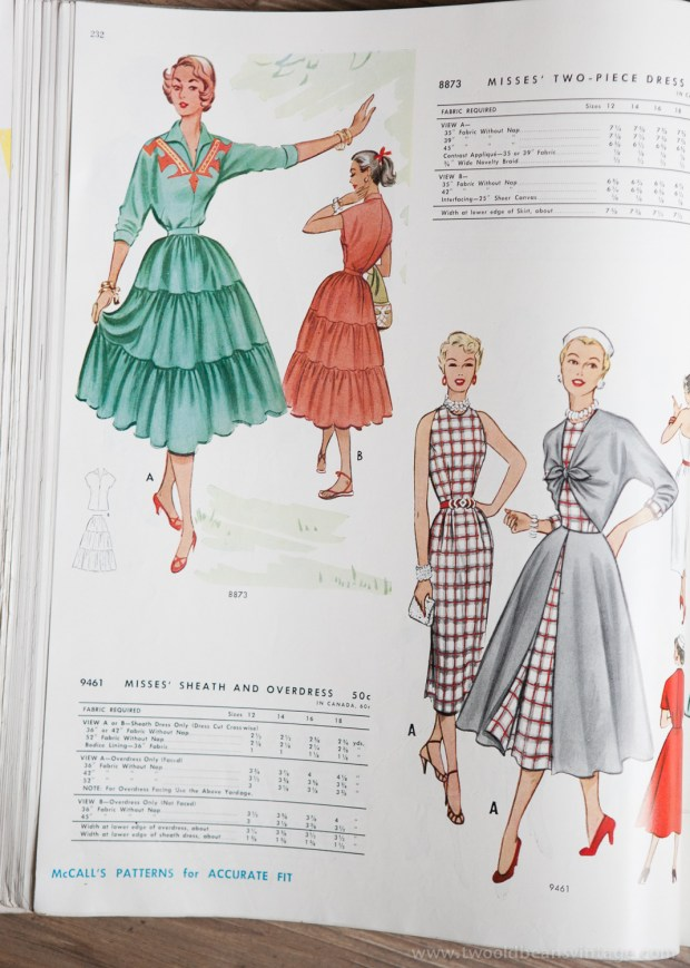 8873 + 9461 Mccalls 1954 Winter Vintage Pattern | 1950s Two Old Beans Vintage Clothing