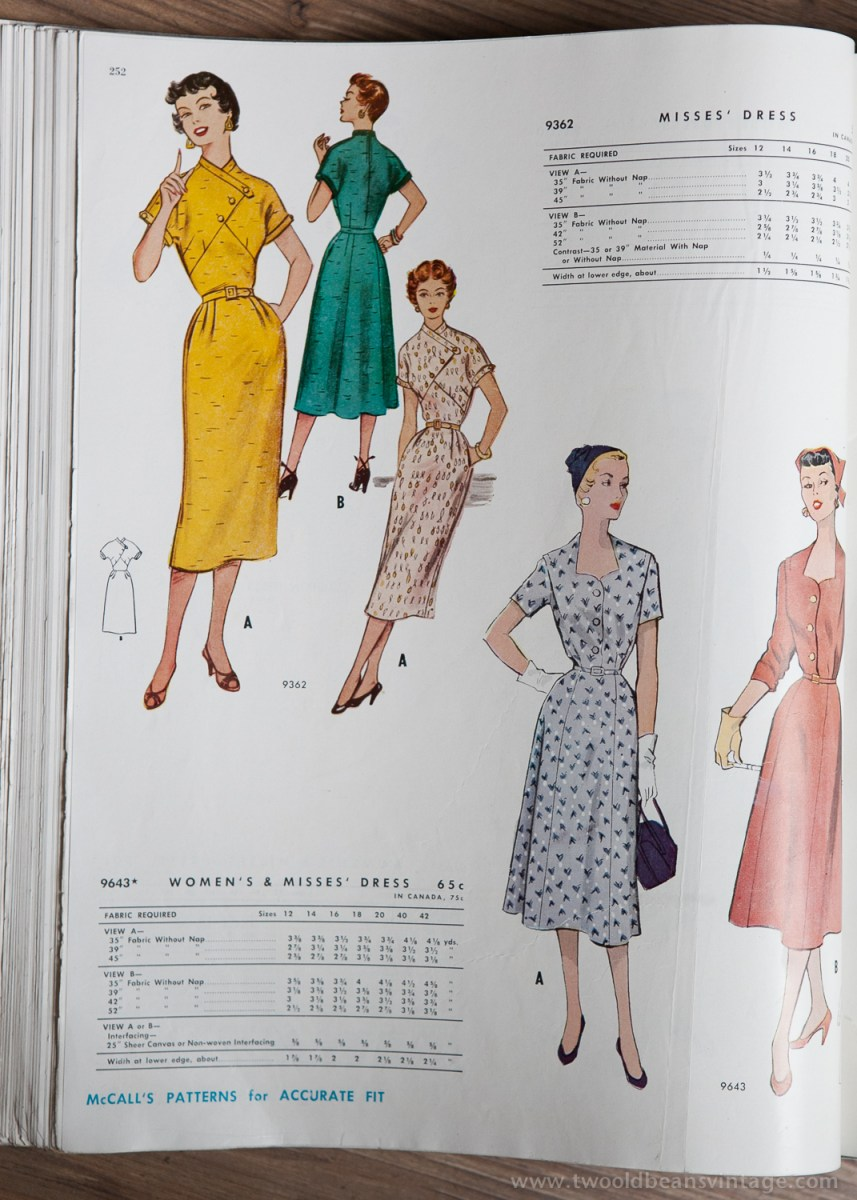 9362 + 9643 Mccalls 1954 Winter Vintage Pattern | 1950s Two Old Beans Vintage Clothing