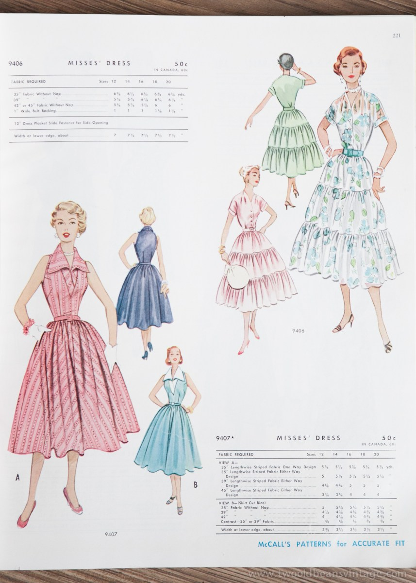 9406 + 9407 Mccalls 1954 Winter Vintage Pattern | 1950s Two Old Beans Vintage Clothing