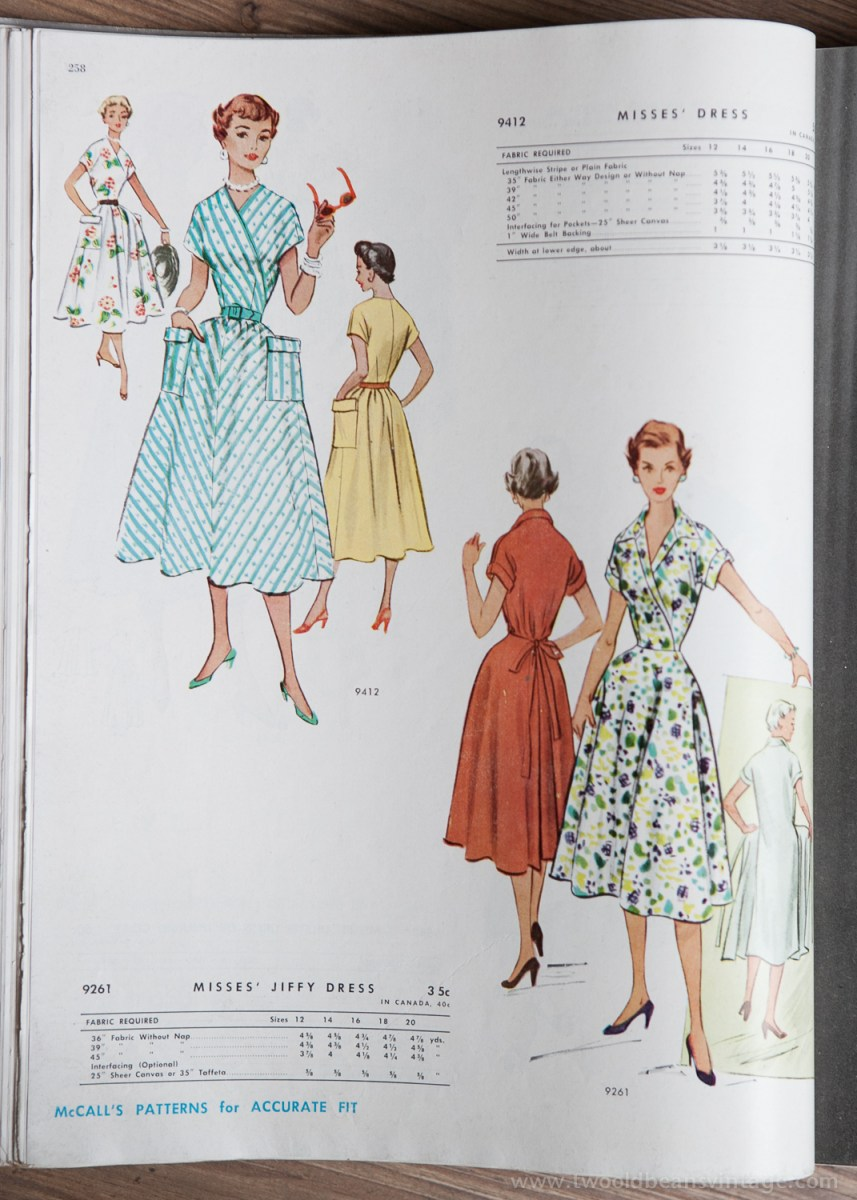 9412 + 9261 Mccalls 1954 Winter Vintage Pattern | 1950s Two Old Beans Vintage Clothing