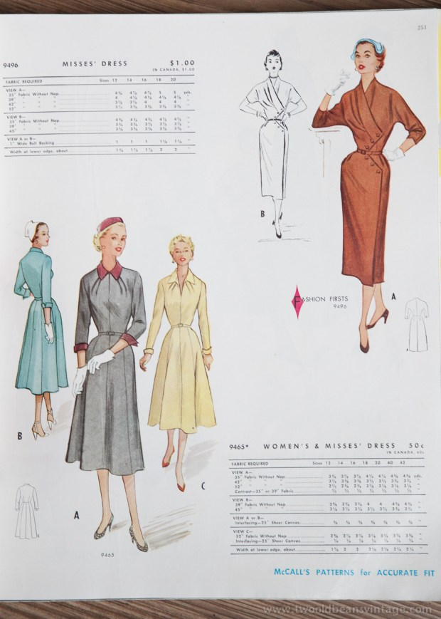 9496 + 9465 Mccalls 1954 Winter Vintage Pattern | 1950s Two Old Beans Vintage Clothing