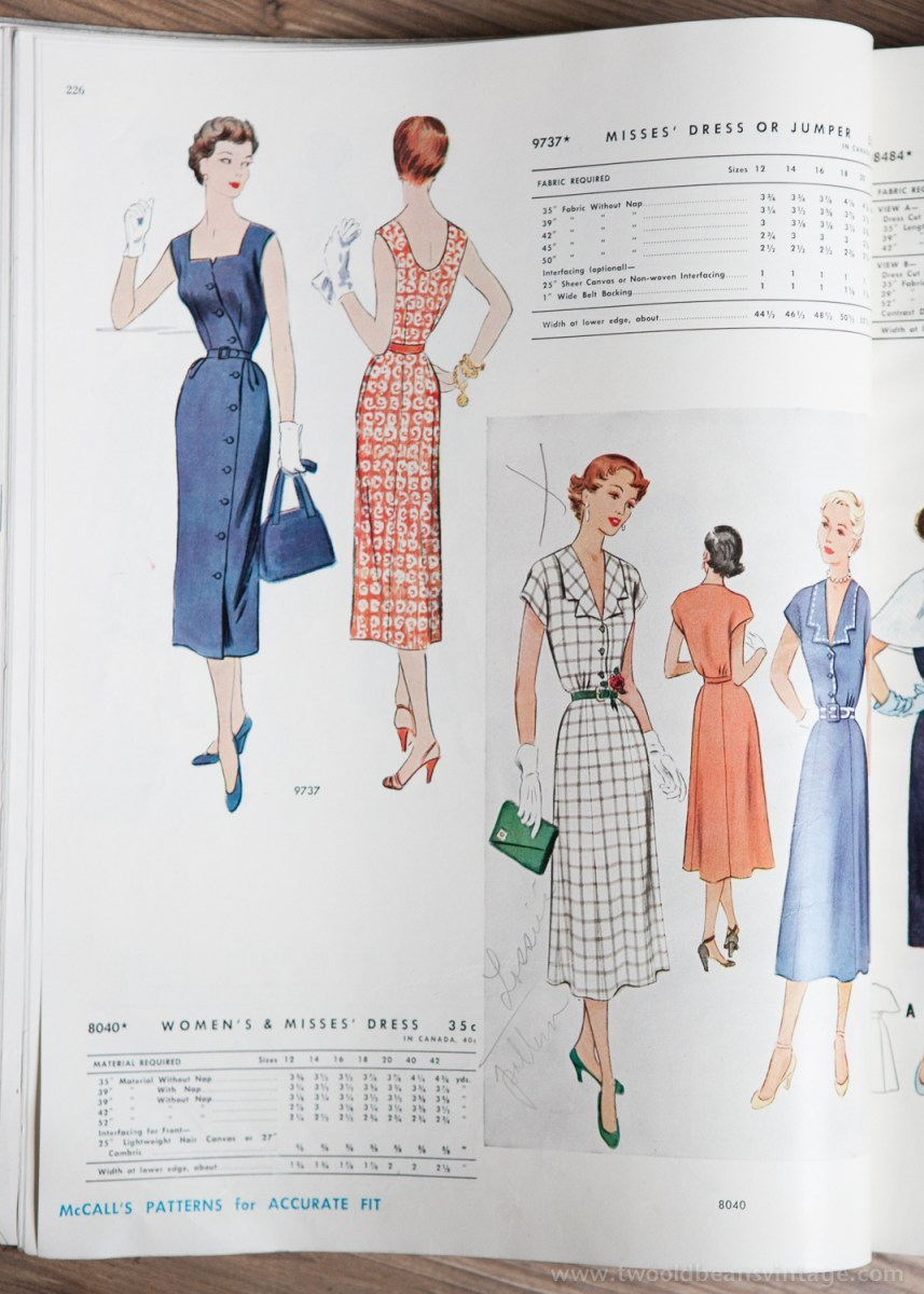 9737 + 8040 Mccalls 1954 Winter Vintage Pattern | 1950s Two Old Beans Vintage Clothing