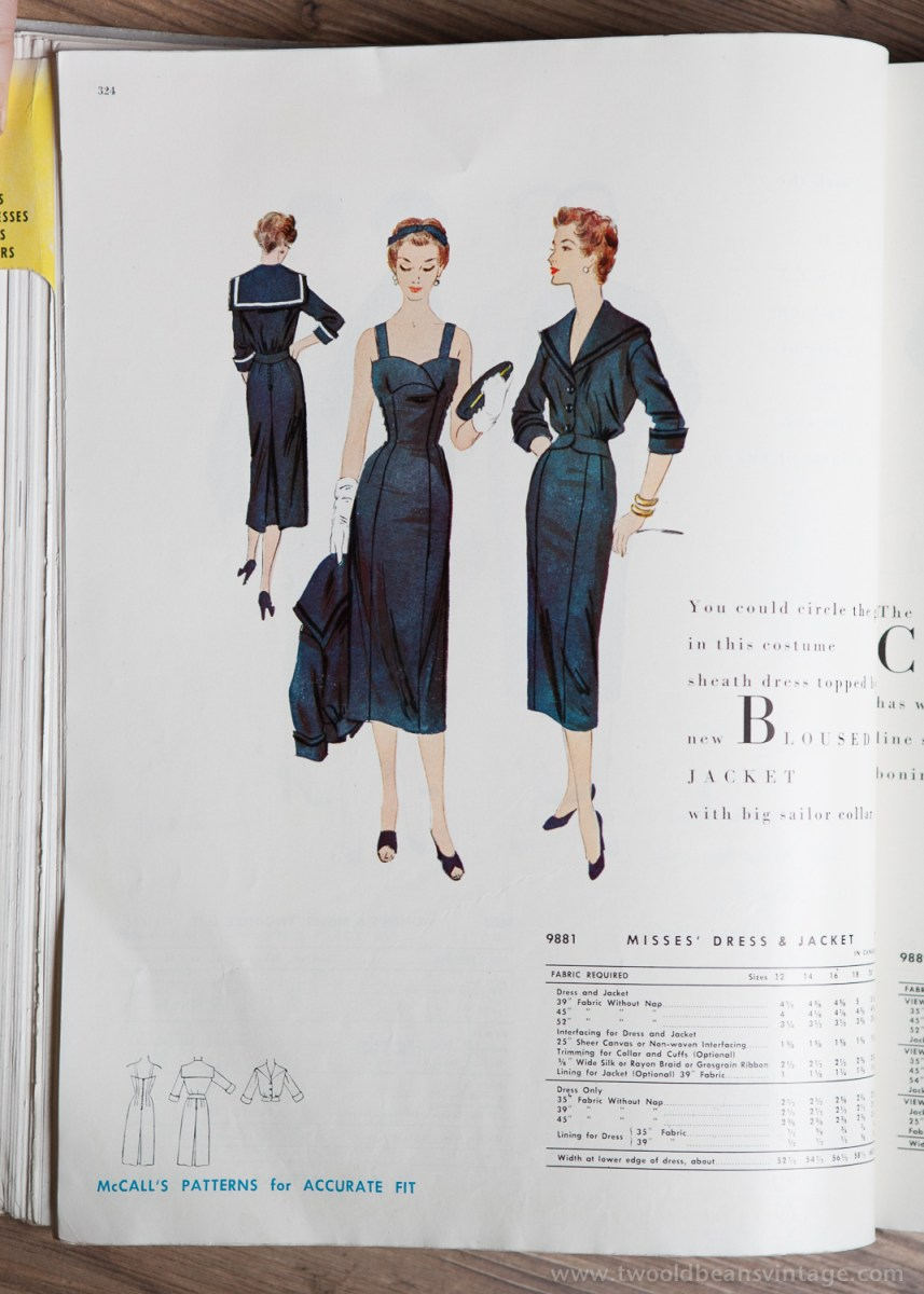 9881 Mccalls 1954 Winter Vintage Pattern | 1950s Two Old Beans Vintage Clothing