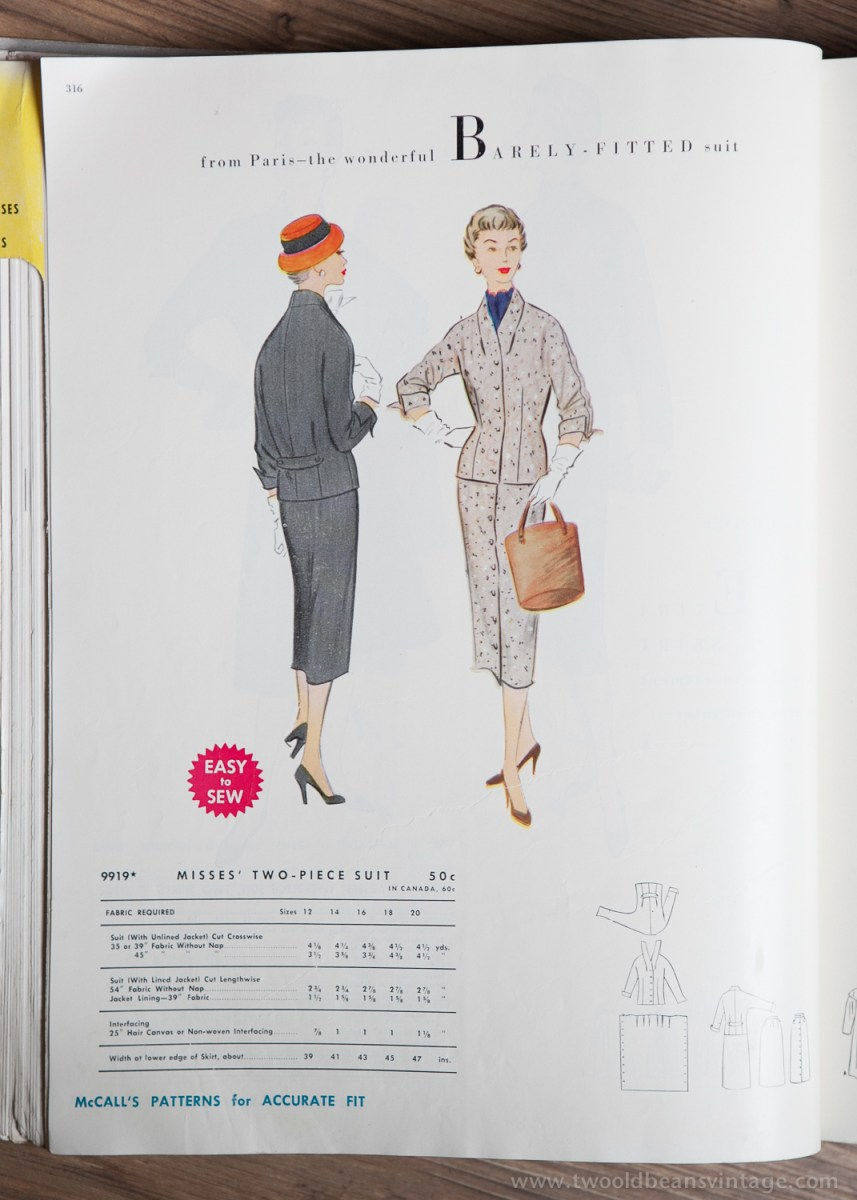 9919 Mccalls 1954 Winter Vintage Pattern | 1950s Two Old Beans Vintage Clothing