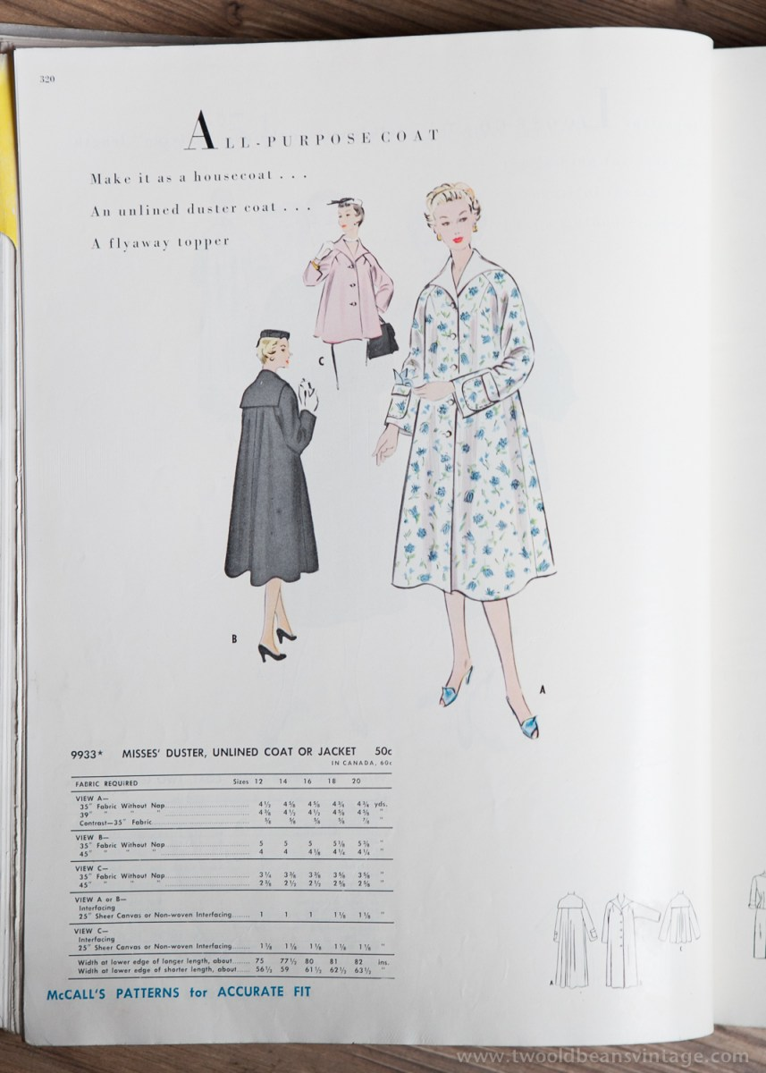 9933 Mccalls 1954 Winter Vintage Pattern | 1950s Two Old Beans Vintage Clothing