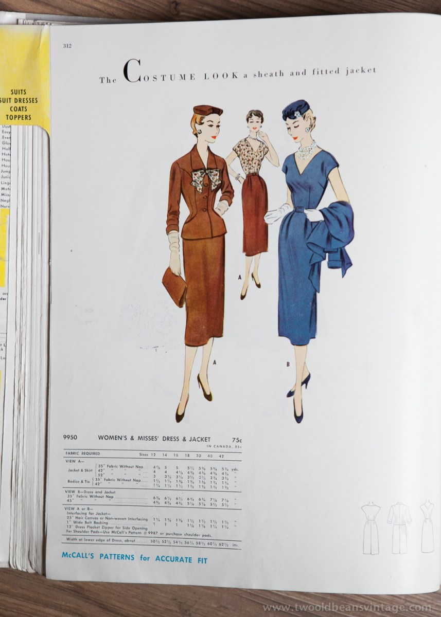 9950 Mccalls 1954 Winter Vintage Pattern | 1950s Two Old Beans Vintage Clothing