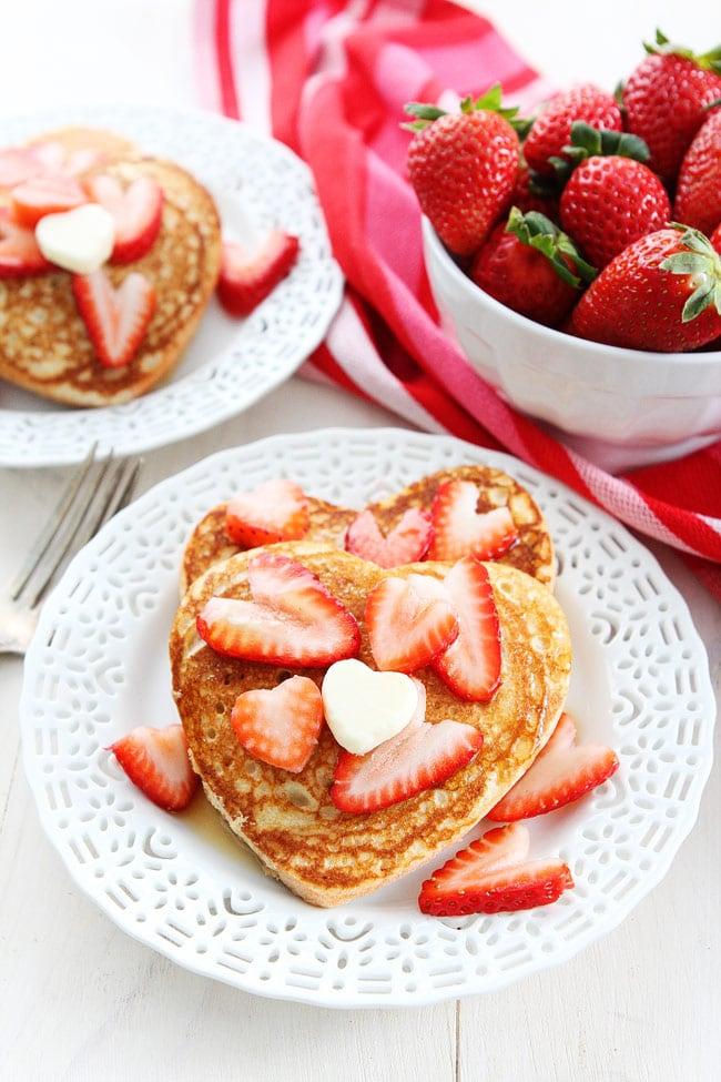 Heart Pancakes Strawberries