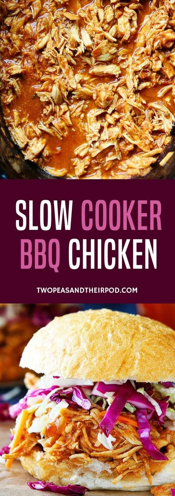 You only need 3 ingredients to make this easy Slow Cooker BBQ Chicken! This easy crockpot chicken dinner is a family favorite! #chicken #chickenrecipe #crockpot #slowcooker #easyrecipes