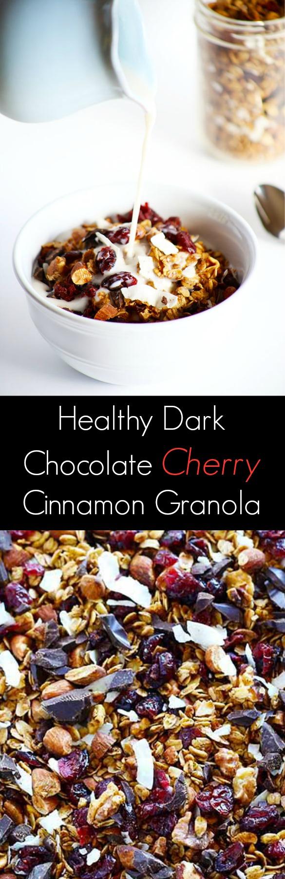 Healthy Dark Chocolate Cherry Cinnamon Granola - TwoRaspberries