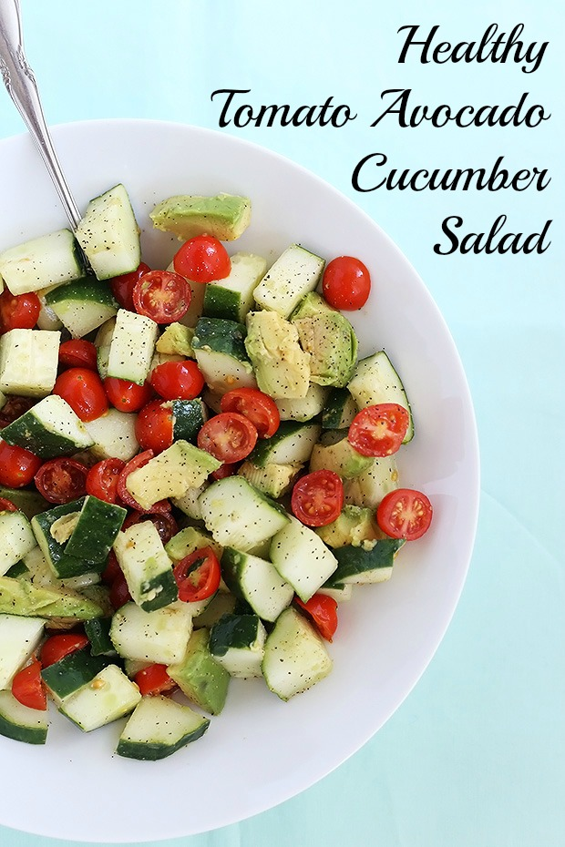This Healthy Tomato Avocado Cucumber Salad is quick and easy to prepare, healthy, and has two different dressing options, smoky or sweet. Vegan. / TwoRaspberries.com
